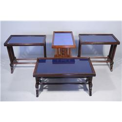 A Group of Four Art Deco Coffee Tables with Blue Tops.
