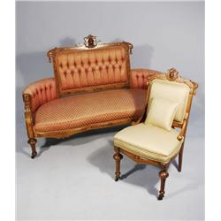 An American Renaissance Revival Carved Walnut and Burled Walnut Sofa and Side Chair, Late 19th Centu