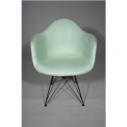 A Charles Eames for Herman Miller Fiberglass Aqua Vinyl Covered Shell Chair with Eiffel Tower Base,