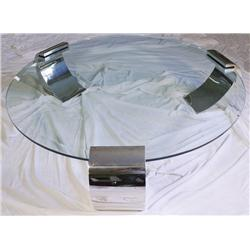 A Chrome and Glass Low Table, in the Style of Karl Springer.