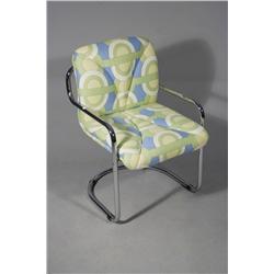 A Contemporary Chrome Metal Armchair.