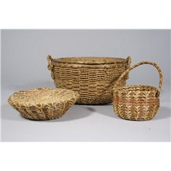A Group of Three Indian Woven Baskets.