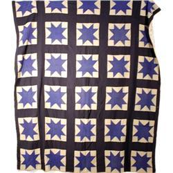 An Appliqué Odd Fellow's Cross Pattern Wool and Cotton Quilt.