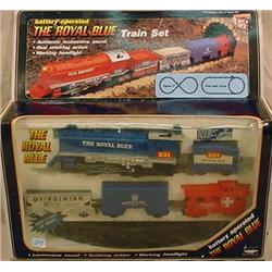 THE ROYAL BLUE BATTERY OPERATED TRAIN SET W/ TRACK
