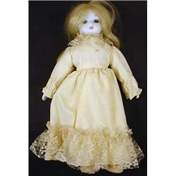 VINTAGE BISQUE DOLL W/ STAND AND CLOTH BODY