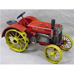 VINTAGE TIN TRACTOR - HANDPAINTED