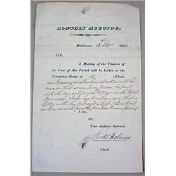 1834 TRUSTEES OF THE POOR NOTE W/ LIQUOR RECIPE ON