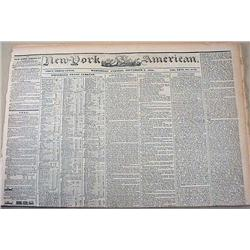 9-4-1844 NEWSPAPER - THE NEW YORK AMERICAN W/ MANY