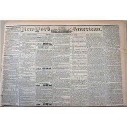 9-5-1844 NEWSPAPER - THE NEW YORK AMERICAN W/ MANY