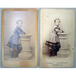 LOT OF 2 C. 1800'S CDV PHOTOS - SAME IMAGE, 1 HAND