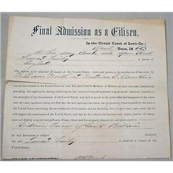 "1860 USA ""FINAL ADMISSION AS A CITIZEN"" DOCUMENT W"