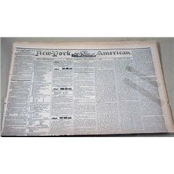 9-27-1844 NEWSPAPER - THE NEW YORK AMERICAN W/ MAN