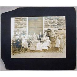LARGE ANTIQUE MOUNTED PHOTO - BLACK CHILDREN W/ WH