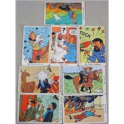 LOT OF 8 C. 1940'S TIN-TIN TRADING CARDS