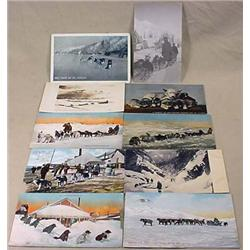 LOT OF 10 VINTAGE DOG SLED POSTCARDS - INCL. RPPC