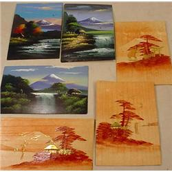 LOT OF 6 EARLY JAPANESE POSTCARDS - INCL. HANDPAIN