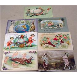LOT OF 7 VINTAGE EASTER POSTCARDS - NICE! - Incl.