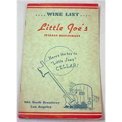 VINTAGE LITTLE JOE'S RESTAURANT WINE MENU - LOS AN