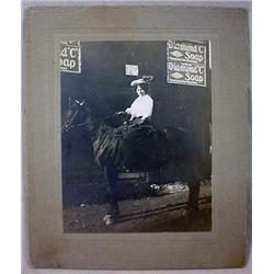 ANTIQUE MOUNTED PHOTO OF LADY ON HORSE W/ WHIP - A