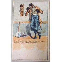 VICTORIAN BLACK AMERICANA TRADE CARD - MAN ON WALL