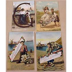 LOT OF 4 EARLY POSTCARDS - INCL. DUTCH BOY SERIES