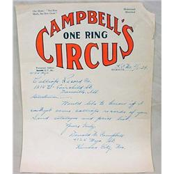 1939 CAMPBELLS CIRCUS STATIONARY LETTER SIGNED BY