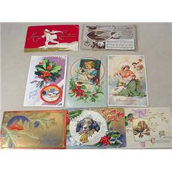 LOT OF 8 VINTAGE CHRISTMAS POSTCARDS - Incl. Dogs,