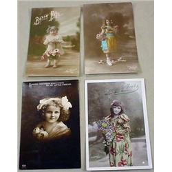 LOT OF 4 VINTAGE PHOTO POSTCARDS - 3 HAND TINTED