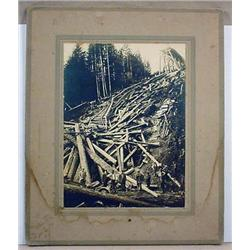 LARGE ANTIQUE MOUNTED PHOTO OF A COLLAPSED RAILROA