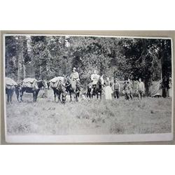 EARLY PHOTO OF CAMPSITE W/ MEN, COOK, HORSES, PACK