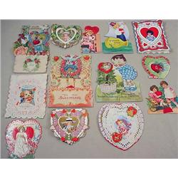 LOT OF 15 VINTAGE VALENTINES - INCL. DIE CUT AND P