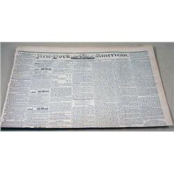 9-7-1844 NEWSPAPER - THE NEW YORK AMERICAN W/ MANY
