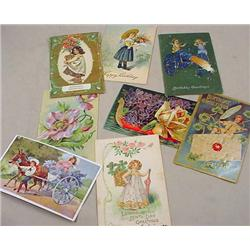 LOT OF 6 VINTAGE POSTCARDS - INCL. BIRTHDAY, MANY