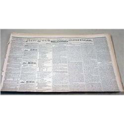 9-23-1844 NEWSPAPER - THE NEW YORK AMERICAN W/ MAN