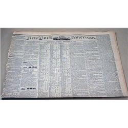 9-18-1844 NEWSPAPER - THE NEW YORK AMERICAN W/ MAN