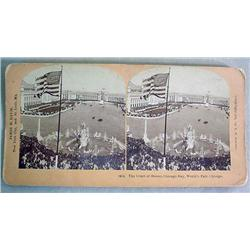 ANTIQUE STEREOVIEW PHOTO CARD 1894 CHICAGO WORLDS