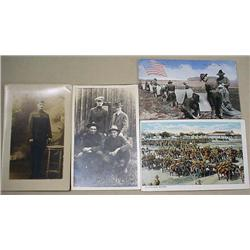 LOT OF 4 WW1 SOLDIERS POSTCARDS - INCL. RPPC REAL