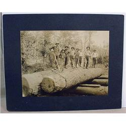 ANTIQUE LARGE MOUNTED PHOTO OF LOGGERS AT WORK - A