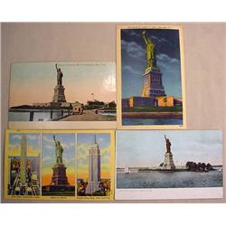 LOT OF 4 VINTAGE STATUE OF LIBERTY POSTCARDS