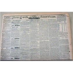 9-2-1844 NEWSPAPER - THE NEW YORK AMERICAN W/ MANY