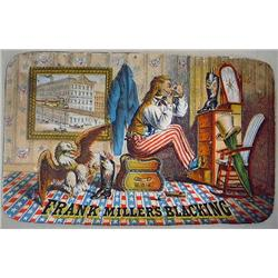 VICTORIAN TRADE CARD W/ UNCLE SAM - FRANK MILLER'S