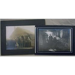 LOT OF 2 ANTIQUE MOUNTED PHOTOS OF MEN AT WORK - M