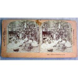 ANTIQUE STEREOVIEW PHOTO CARD CHRISTMAS TREE AND C