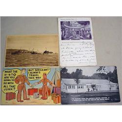 LOT OF 4 VINTAGE POSTCARDS - INCL. MILITARY - Also