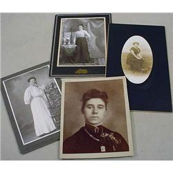 LOT OF 4 ANTIQUE CABINET CARD STYLE PHOTOS OF VICT