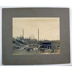 ANTIQUE LARGE MOUNTED PHOTO OF LOGGING CAMP W/ HOR