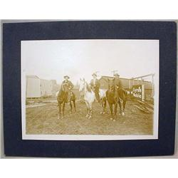 ANTIQUE MOUNTED PHOTO OF 3 MEN ON HORSES - Approx.