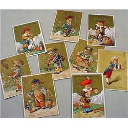 LOT OF 9 VICTORIAN TRADE CARDS - Incl. Oriental Ch