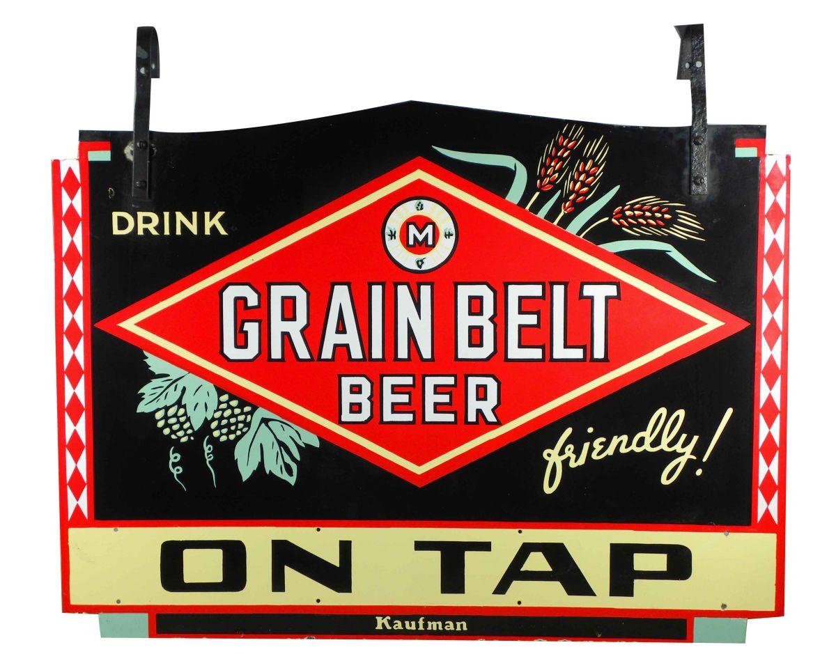 Grain Belt Beer Two Sided Porcelain Sign
