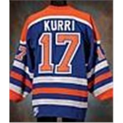 new product f3443 d30d2 1987-88 Jari Kurri Edmonton Oilers Game-Used Road Mesh ...